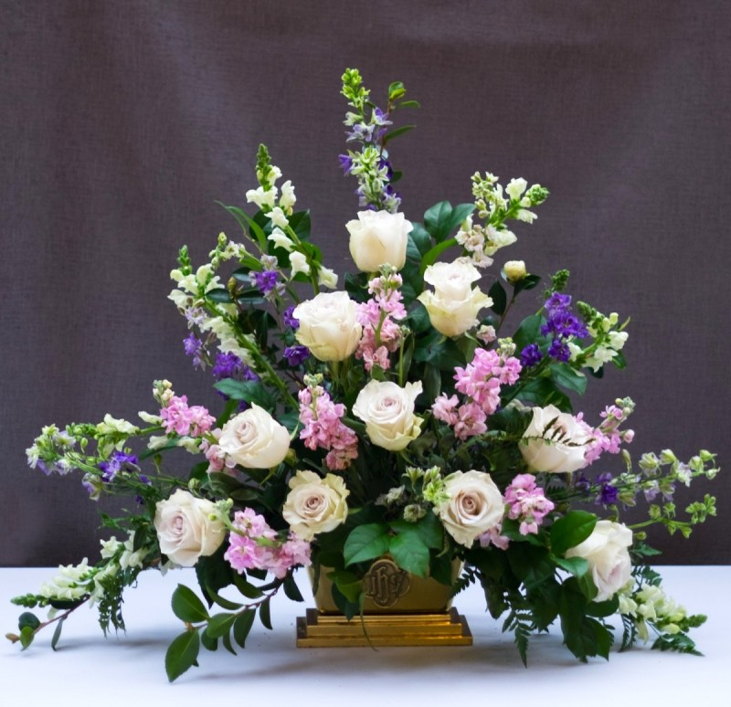 classic triangle church flower arrangement