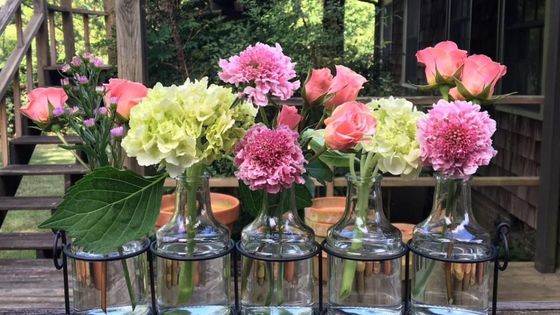 windowsill arrangement, bud vases