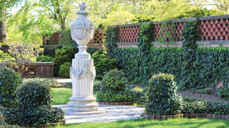 The urn terrace features an urn modeled on an 18th-century terra-cotta one that Mildred and Robert Bliss purchased in France.