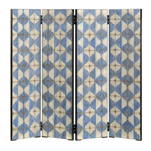 Photo of blue-and-white patterned screen with 4 hinged panels