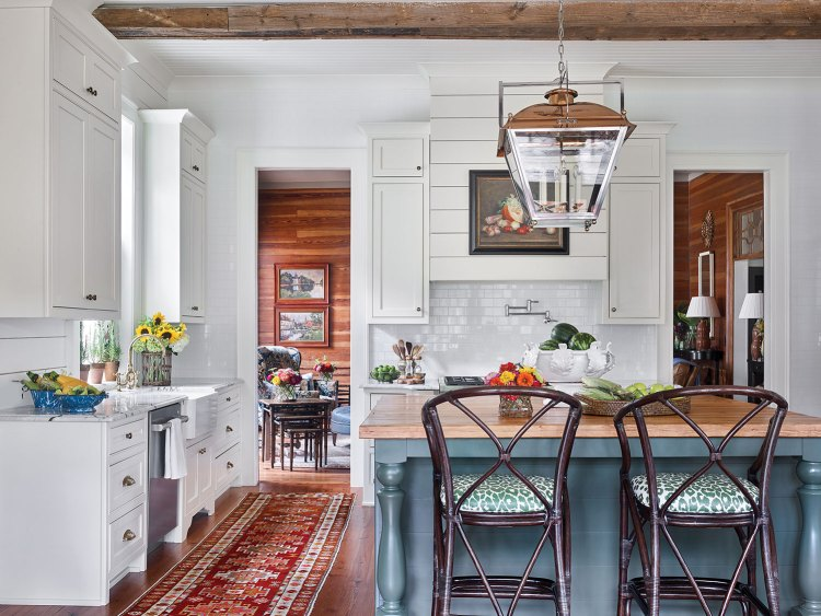 Photo of kitchen created by interior designer James Farmer for the McCurdy Plantation