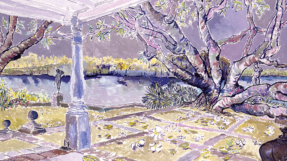 """Lunuganga, Bentota, Sri Lanka,"" 1992, gouache on paper, 21 x 27 inches, private collection. From ""Into the Garden"" by Christian Peltenburg-Brechneff, copyright © 2019, published by G Arts www.glitteratieditions.com"