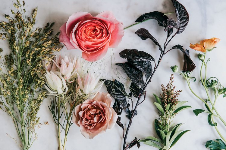 The materials are laid out on a flat white surface: Pieris japonica, Plum tree foliage, Bridal veil grass , Millet grass, Explosion grass, 'Blushing Bride' protea', Prairie Sunset' roses, 'Romantic Antike' roses, 'Koko Loko' roses, 'Butterfly' ranunculus