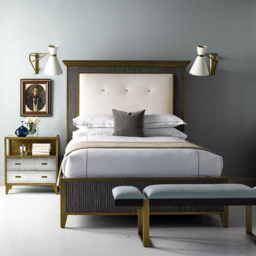 bed frame with linear motif