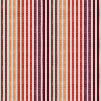 Fabric with narrow stripes grouped by color in a range of autumn hues, alternating with white stripes