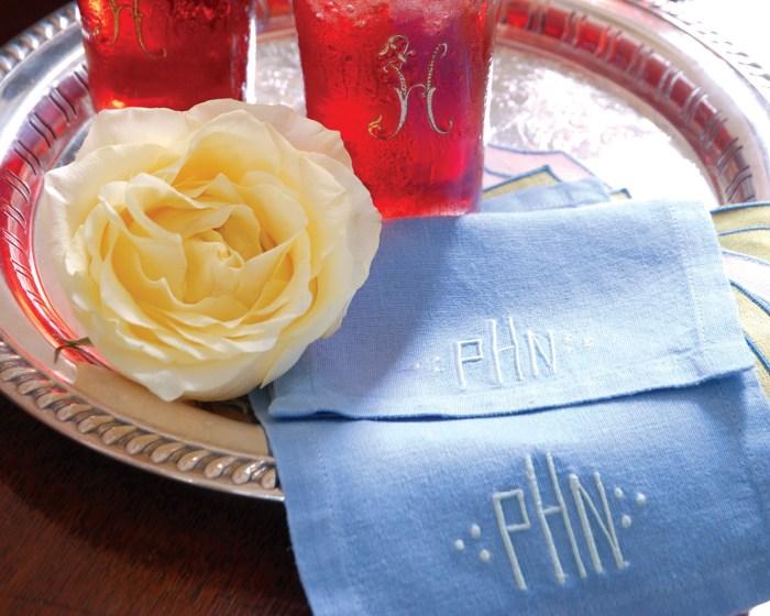 blue cocktail napkin monogrammed