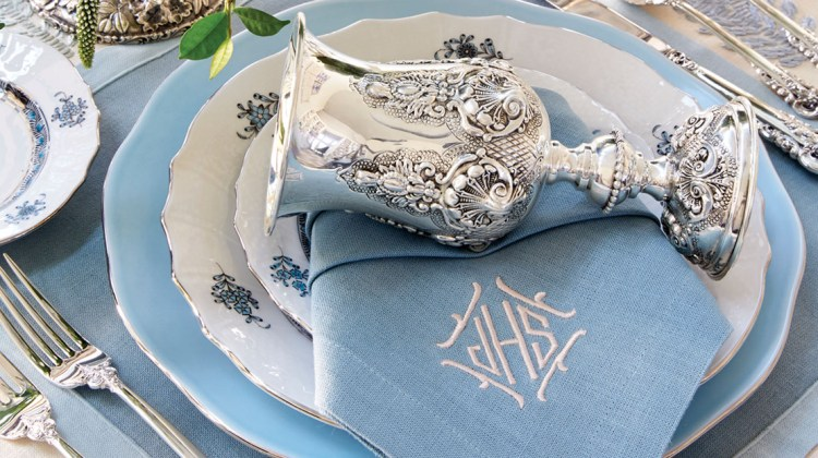Ice blue, white, and silver tabletop decor