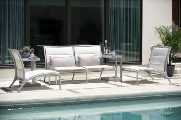 poolside love seat and lounge chair