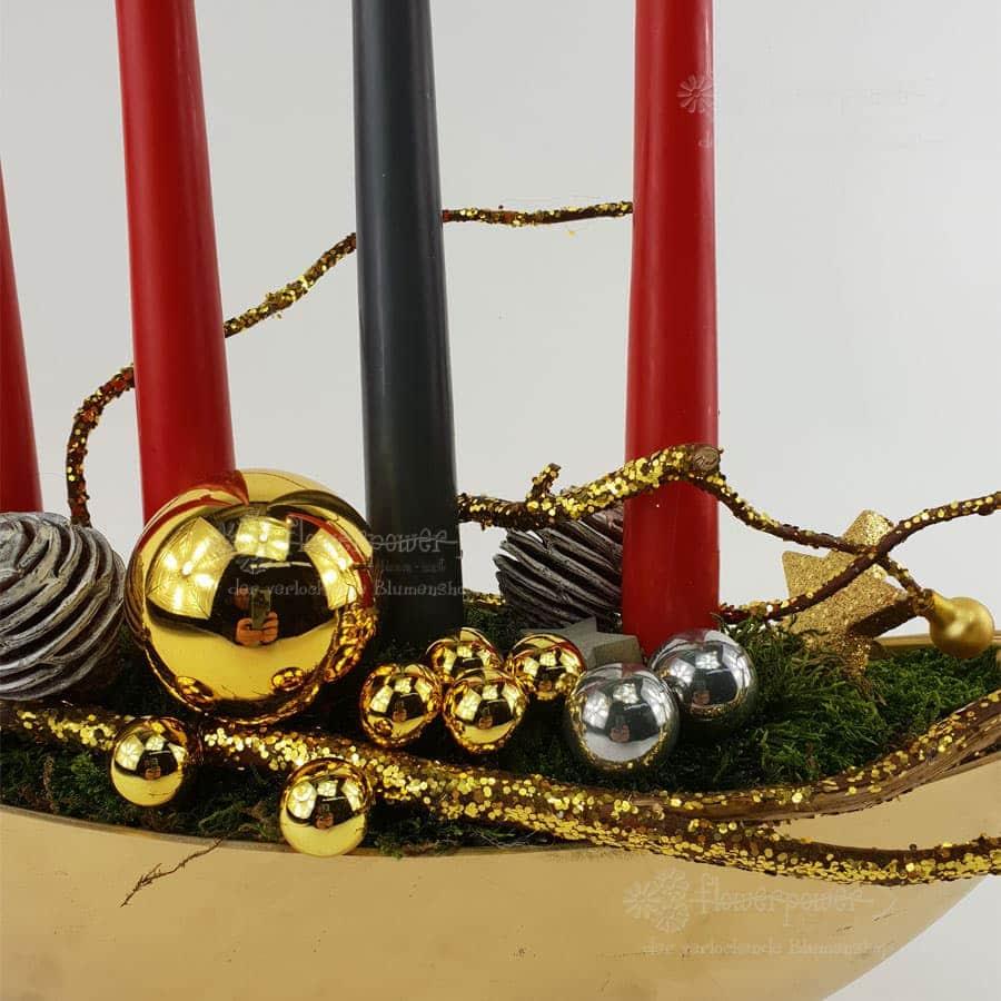 Kerzenschale Rot Grau Kugel