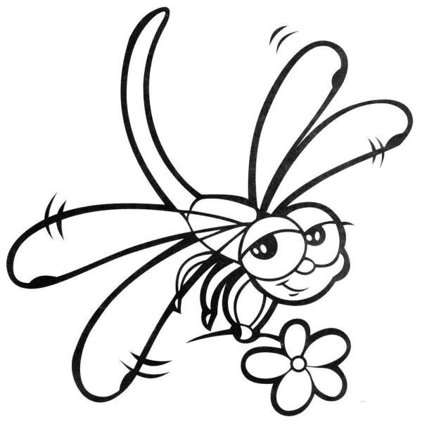 Стрекоза с цветокм для малышей