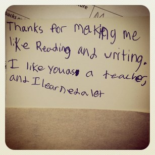 A note from one of my favorite students.