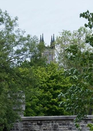 St James church peeking through the trees.