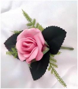 Mini pink rose buttonhole