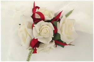 White roses with thin deep red satin ribbon