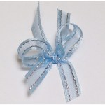 Pale blue with silver thread organza