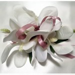 Orchids with thin satin dusty pink ribbon
