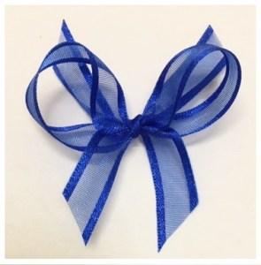 Electric blue organza ribbon with satin trim.