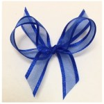 Electric blue organza ribbon with satin trim.