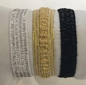 Silver, gold or black 10mm elasticized wristband