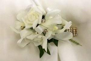 Orchid/rose mix, gold diamante, gold diamante wristband.