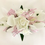 Orchid/rose mix with dusty pink organza ribbon.