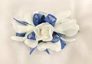 Orchid/rose mix with cobalt blue organza ribbon.
