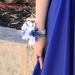 Orchid corsage with cobalt blue ribbon, diamante` wristband.