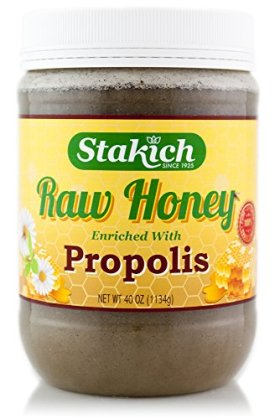 Stakich PROPOLIS Enriched RAW HONEY 40-OZ – 100% Pure, Unprocessed, Unheated –