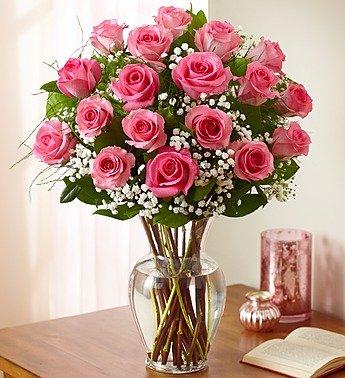 1-800-Flowers – Rose Elegance Premium Long Stem Pink Roses – 18 Stem Pink Roses