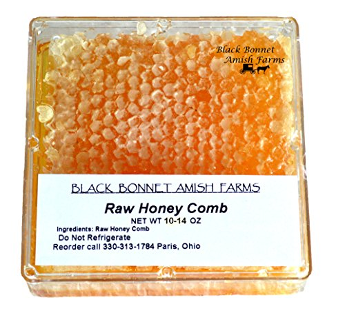 100% Pure Raw Natural Honey Comb Full of Honey in Box 10-14 oz. From Black Bonnet Amish Farms