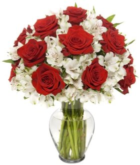 Classic Long Stem Rose Alstro Bouquet – With Vase