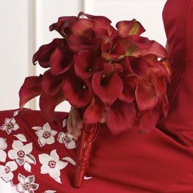 Classic Red Mini Calla Lily Wedding Bouquet