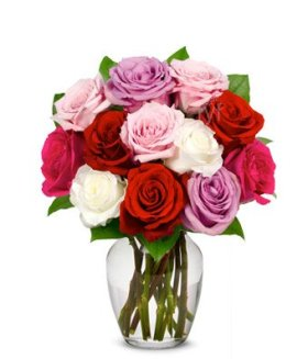 Flowers – One Dozen Assorted Sweetheart Roses (FREE Vase Included)