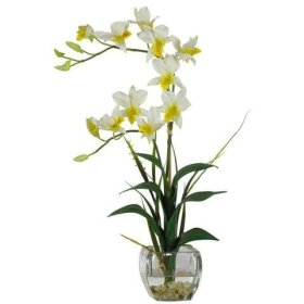 Nearly Natural Dendrobium with Glass Vase Silk Flower Arrangement in Cream