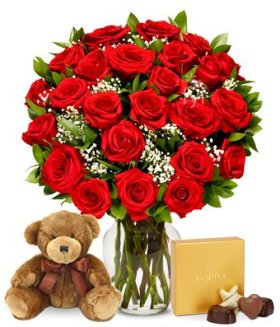 Flowers – Two Dozen Long Stemmed Red Roses with Godiva Chocolates & Bear (FREE Vase Included)