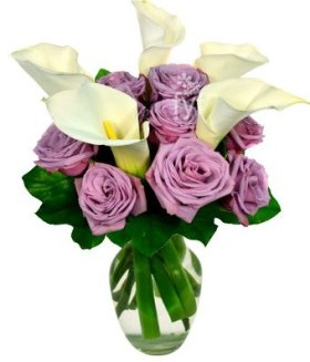 From You Flowers – Purple Rose and Calla Lily Bouquet (FREE Vase Included)
