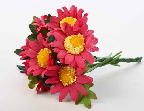 Miniature Short Bright Artificial Cranberry African Daisy Bouquets- 2 Packs of 6 Bouquets- 12 Total Miniature Bouquets
