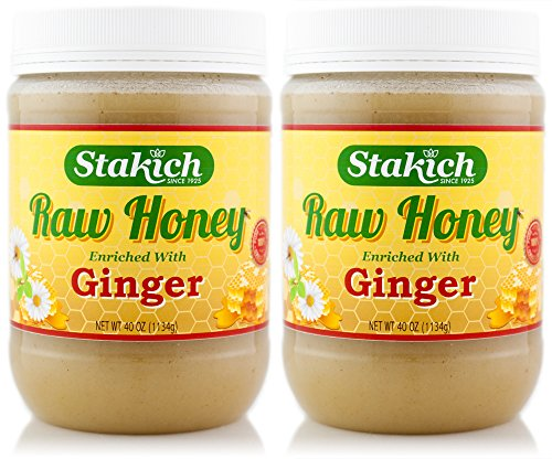 Stakich GINGER Enriched RAW HONEY 5-LB – 100% Pure, Unprocessed, Unheated –