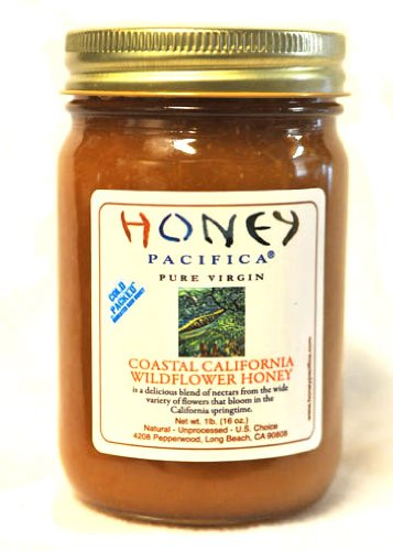 Coastal Wildflower Raw Honey by Honey Pacifica – Unprocessed & Unheated Honey – 16 oz Glass Jar