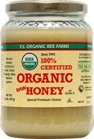 YS Organic Bee Farms CERTIFIED ORGANIC RAW HONEY 100% CERTIFIED ORGANIC HONEY Raw, Unprocessed, Unpasteurized – Kosher 32oz (Pack of 3)