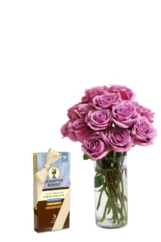 Bouquet of Long Stemmed Lavender Roses (Dozen and a Half) and Scharffen Berger Chocolate – With Vase