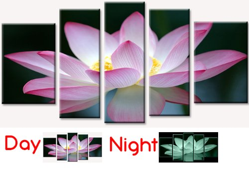 Startonight Canvas Wall Art Pink Flower, Pink USA Design for Home Decor, Dual View Surprise Wall Art Set of 5 Total 35.43 X 70.87 Inch 100% Original Art Painting!