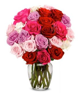 From You Flowers – Roses Galore in Red, Pink, Purple & White – 2 Dozen (Free Vase Included)