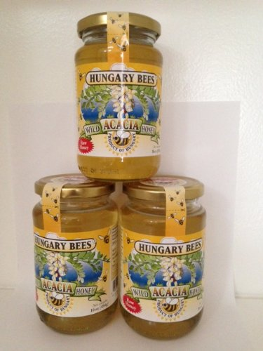 Hungary Bees 100% Pure Raw Organic Wild Acacia Honey 16oz- 3 Pack