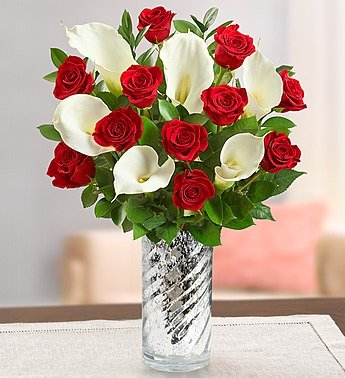 1-800-Flowers – Stunning Red Rose & Calla Lily – with Silver Swirl Vase