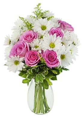 Mother's Day Special Icing on the Cake Daisies and Roses – With Vase
