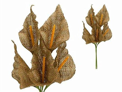 25 Burlap Large Calla Lily Flowers – Natural