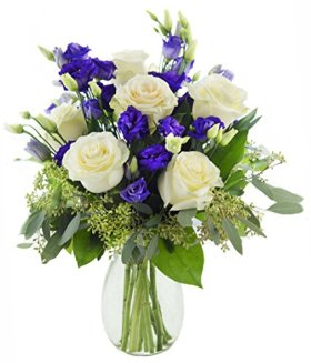 Mother's Day Special Classic Violet Lisianthus and Roses – With Vase