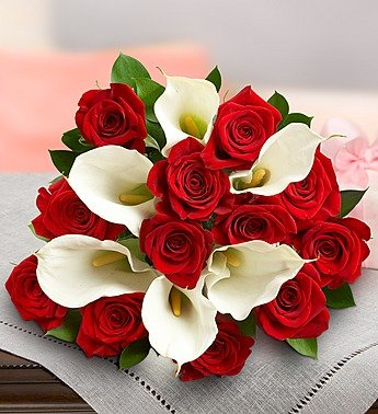 1-800-Flowers – Stunning Red Rose & Calla Lily – Bouquet Only