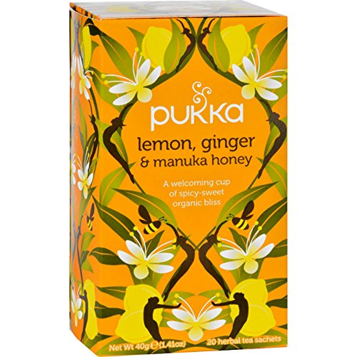Pukka Organic Lemon Ginger and Manuka Honey Tea – 20 bags per pack — 6 packs per case.